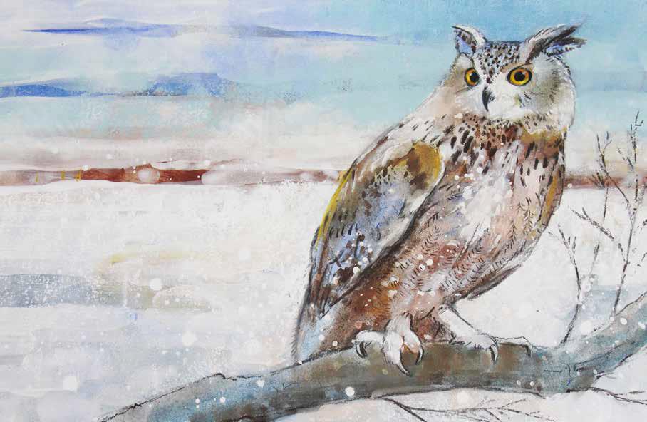 Getekend en geschilderd in witte winterwereld