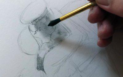 Kus in potlood en grafietpoeder