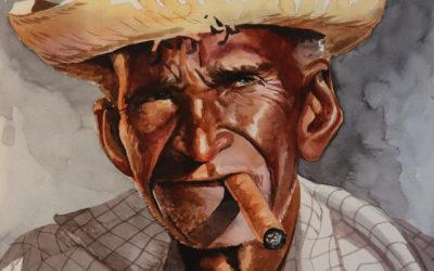 Oude Cubaan in aquarel